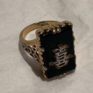 SETA Gold Tone Black Stone Chinese Symbol Ring